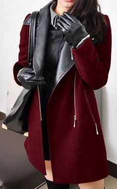 Wine Contrast Leather Sleeve Coat