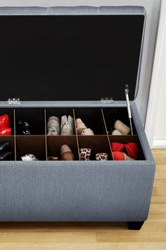 Oooh, so clever! Shoe storage ottoman bench