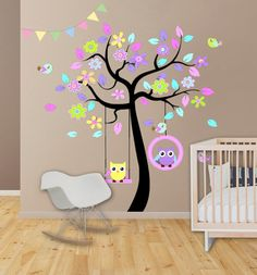 Wall Decal Kids Birds and Owl-pastel is simple and sweet. It brings a touch of whimsy and playfulness to any space.  Bonus: FREE decal applicator tool with your purchase!  Size: Overall Size (approx): 67w x63h Whats Included: Tree Multiple Leaves Two Cute Owls Four Birds Decal Applicator Tool Application Instructions  10% Discount: FOLLOW US ON FACEBOOK AND INSTAGRAM, RECEIVE A 10% DISCOUNT FOR FOLLOWING BOTH! Follow the link below, message us on FB or Instagram after you like our pages and…
