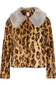 6f6e9396b75 Shrimps - Cropped leopard-print faux fur jacket