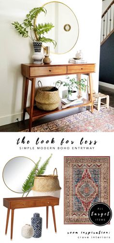 LOOK FOR LESS 3 Designer Inspired Modern Boho Entryways under 570 each using only Target products Boho-chic bohemian decor modern boho entryway midcentury console Interior inspiration Crave Interiors bohochic targetstyle Quirky Home Decor, Modern Decor, Diy Home Decor, Modern Bohemian Decor, Homemade Home Decor, Modern Hippie, Modern Coastal, Boho Chic Living Room, Boho Chic Bedroom