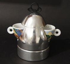 Vintage VEV VIGANO  UFO-2  Stovetop Espresso Maker by Vinod Gangotra + ILLY Espr