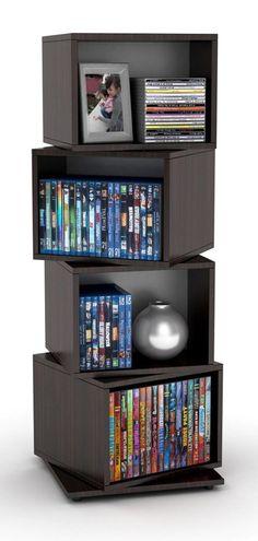 AmazonSmile: Atlantic 2823-5872 Rotating Cube 4-Tier Espresso Multimedia Storage Tower: Electronics