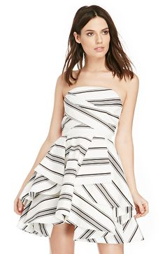 Cameo Night Tale Striped Dress in Black/Ivory XS - M | DAILYLOOK