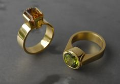 Contemporary New Zealand Jewellery by Kobi Bosshard : gold and Citrine ring and gold and Peridot ring Gold Jewelry, Fine Jewelry, Jewelry Accessories, Custom Jewelry, Jewelry Ideas, Jewlery, New Zealand Jewellery, Necklace Extender, Engagement Ring Sizes