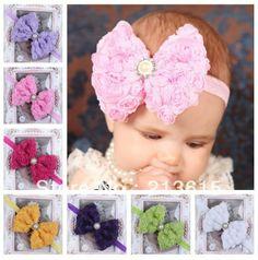 Varejo Frete grátis 7 Cores infantil bebês headband da flor rendas hairband  da criança do bebê
