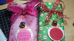I like to take the wrappers off big candy bars and replace with cute scrapbook paper and ribbon. Sometimes I put Lottery tickets or gift cards in them Make great gifts for anyone--  Graduation gifts too