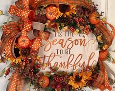 Thankful wreath made with sunflowers and pumpkins and a big luscious bow and so much more! Sunflower Burlap Wreaths, Fall Mesh Wreaths, Autumn Wreaths For Front Door, Diy Fall Wreath, Fall Door, Wreath Ideas, Door Wreaths, Grapevine Wreath, Thanksgiving Wreaths