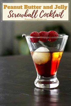 A tasty mix of Screwball peanut butter whiskey with Chambord and PB&J create this cocktail. Slightly sweet with a rich peanut butter flavor give this classic combo a grown up kick.#screwballwhiskey #peanutbutter #pb&j #peanutbutterwhiskey #shot #cocktail Whiskey Mixed Drinks, Whiskey Cocktails, Whiskey Glasses, Whiskey Bottle, Whiskey Recipes, Alcohol Drink Recipes, Chambord Cocktails, Martinis, Lime And Tonic