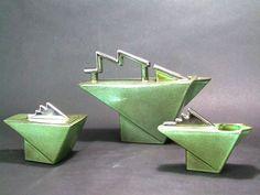 Art deco 'Lightning Bolt' Tea Set by Salins, France