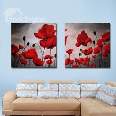 New Arrival Beautiful Red Flowers and Buds Print 2-piece Cross Film Wall Art Prints - beddinginn.com