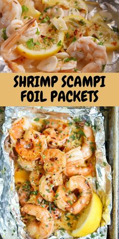 Everyone's favorite shrimp scampi without fuss in this easily assembled foil bag is cooked with aluminum paper in the oven or on the gr. Grilled Cod Recipes, Healthy Grilling Recipes, Good Healthy Recipes, Grill Recipes, Healthy Foods, Yummy Recipes, Keto Recipes, Shrimp Foil Packets Oven, Grilled Foil Packets