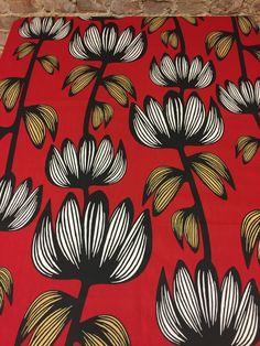 Red tablecloth with striped white  flowers and striped gold leaves, Scandinavian design, modern style by SiKriDream on Etsy
