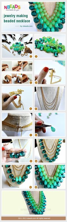 Jewelry Making - Beaded Necklace Tutorial Wire Jewelry, Jewelry Crafts, Beaded Jewelry, Handmade Jewelry, Jewlery, Beaded Necklaces, Do It Yourself Jewelry, Make Your Own Jewelry, Necklace Tutorial