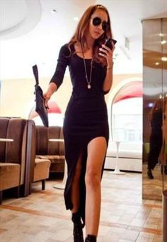 Sexy Black Long Sleeve Dress