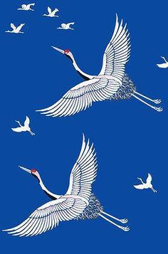 Large Flying Cranes Bird Stencil