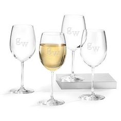 Engraved White Wine Glass Sets with Monogram , Add Your Personalized Message