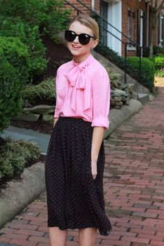 Pink Bow Blouse and Polka Dot Midi Skirt - via @poorlilitgirl