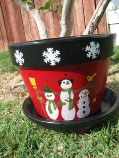 Etsy の Snowman Flower Pot by bubee