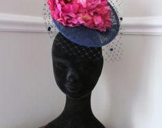 Navy Fascinator - Navy and Magenta Flower Fascinator - Racing hat - Ladies Day Hat - Edit Listing - Etsy Navy Fascinator, Magenta Flowers, Wearing A Hat, Headpieces, Ladies Day, Racing, Lady, How To Wear, Handmade