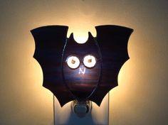 Night Light Stained Glass Black Bat