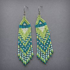 Long seed bead earrings - lime green, turquoise,cream.
