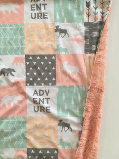 Woodland baby blanket, girl Blanket, girl Woodland Blanket, lumber jack Nursery, Girl Baby Shower Gift, moose bear buffalo check plaid Nurse by DwellDarling on Etsy