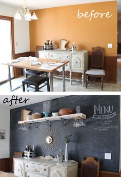 Chalkboard wall, chalkboard paint, dining room, DIY, before and after