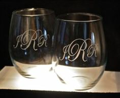 Custom engraved wine glasses for a wedding gift! LOVE these!