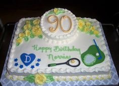 """11 x 15 butter sheet cake with one 6"""" rd layer on top, vanilla buttercream frosting with yellow roses. fondant 90 and other details.  Likes tennis & golf and big Duke Blue Devils fan."""