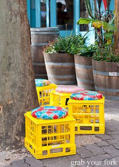 Milk crate stools - I'd like to make these!!