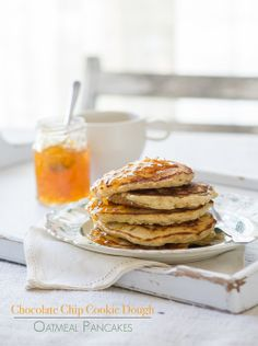 Cookie dough oatmeal pancakes for your Valentine breakfast! inspired by Love and Olive Oil
