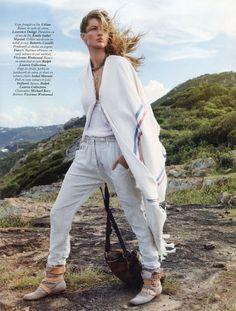 Gisele Bundchen wearing Celine, Isabel Marant and Vivienne Westwood pirate boots | Vogue Paris April 2011, Styled by Emmanuelle Alt