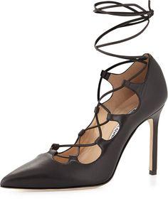Manolo Blahnik Rogustta Lace-Up Leather Pump, Black