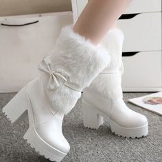 1111 Find More Women's Boots Information about Plus Size 34 42 Pink White Ladies Shoes High Heel Women Mid Calf Boots Sweet Bow Tie Winter Woman Snow Boots Fur Casual Shoes,High Quality shoes tap,China shoes bike Suppliers, Cheap shoes pvc from LeiShu E-Commerce Co., Ltd Store on Aliexpress.com