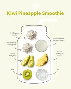 Get ready for immense fruity flavor with this Kiwi Pineapple Smoothie that's both sweet and tangy! Frozen Pineapple, Calorie Counting, Coconut Water, Vegan Friendly, Kiwi, Smoothie, Avocado, Lose Weight, Tasty