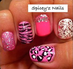 One nail zebra, one leopard and the rest French tips