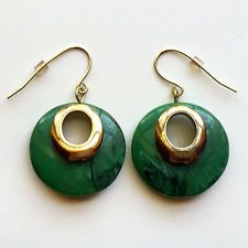 Gold plated fish hooks earrings with dangling green color stone rings ... Lot 23