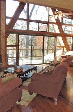 This fabulous chalet boasts three bedrooms, additional large sleeping loft, four seasons sun room, gorgeous great room wrapped in floor-to-ceiling windows, fabulous corner stone fireplace, gorgeous hardwood floors, expanded kitchen with breakfast bar, tongue and groove cedar walls, cedar ceilings, and so much more.  2627 Grendel Dr. http://www.innsbrook-properties.com/property/mo/innsbrook/63390/innsbrook/2627-grendel-drive/547d5b2b03781574ea0000f2/