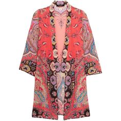 Etro Printed silk crepe de chine jacket (£1,210) ❤ liked on Polyvore featuring outerwear, jackets, etro, red jacket, shawl jacket, red shawl, indian shawl and multi color jacket