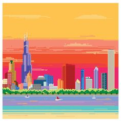8bit Chicago Skyline Pixel Art Print by TheDailyRobot on Etsy, $20.00