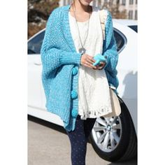 Plus Size Long Sleeve V-Neck Giant Buttons Design Cardigan For Women