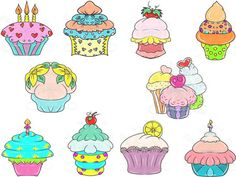 """Enjoy a """"Cupcakes"""" Digital Clip Art Hand Drawn by SnugglebugArtDesign visit https://www.etsy.com/listing/200565439 and use coupon code: WELCOMETOSBAD to save 25%"""