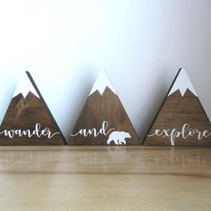 Baby Shower Set of Woodland nursery decor. Wooden mountains with bear shelf sitters. Mountain Nursery, Mountain Decor, Mountain Shelf, Woodland Nursery Decor, Nursery Room Decor, Nursery Ideas, Woodland Room, Baby Boy Nursery Decor, Shower Bebe