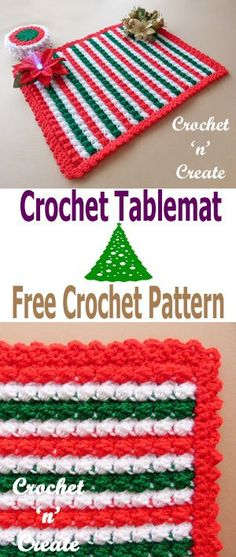 Crochet Christmas table mat, free crochet pattern, make for your sideboard, tables etc. If you make it in different colors it can be used all year round. #crochetncreate #chirstmascrochet #crochettablemats