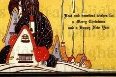 Art Deco cottage Christmas greeting card.