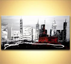 Modern palette knife abstract city painting  Black by OsnatFineArt