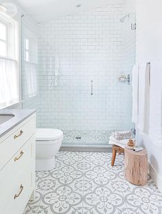 Not so plain white bathroom with great walk-in shower, grey & white floor tiles and grey countertop all add interest to a basic white room. Exchange gold handles to match shower fixtures, add bench in shower, and you've got one dreamy bathroom!