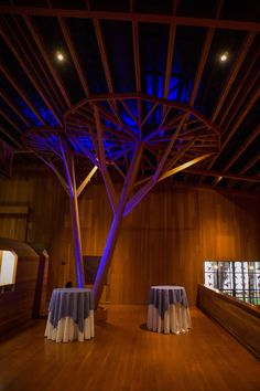 Our beautiful hall does wonders with uplighting! Photo Credit: The Day Entertainment.