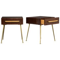 Gorgeous Pair of T.H. Robsjohn-Gibbings Side Tables | From a unique collection of antique and modern side tables at https://www.1stdibs.com/furniture/tables/side-tables/